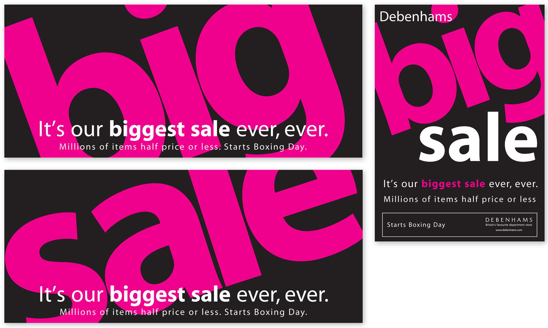 Price for a poster design - Designs For Debenhams Store And Window Posters